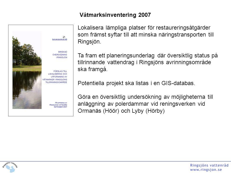 Våtmarksinventering 2007 Lokalisera lämpliga platser för restaureringsåtgärder som främst syftar till att minska näringstransporten till Ringsjön. Ta