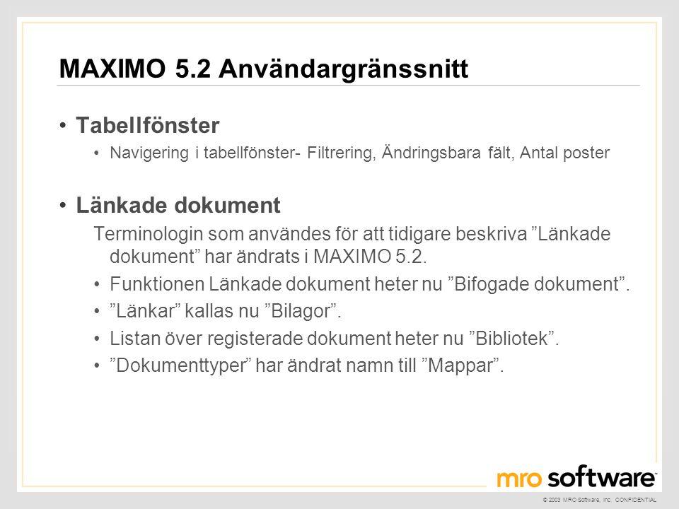 © 2003 MRO Software, Inc. CONFIDENTIAL MAXIMO 5.2 Användargränssnitt •Tabellfönster •Navigering i tabellfönster- Filtrering, Ändringsbara fält, Antal