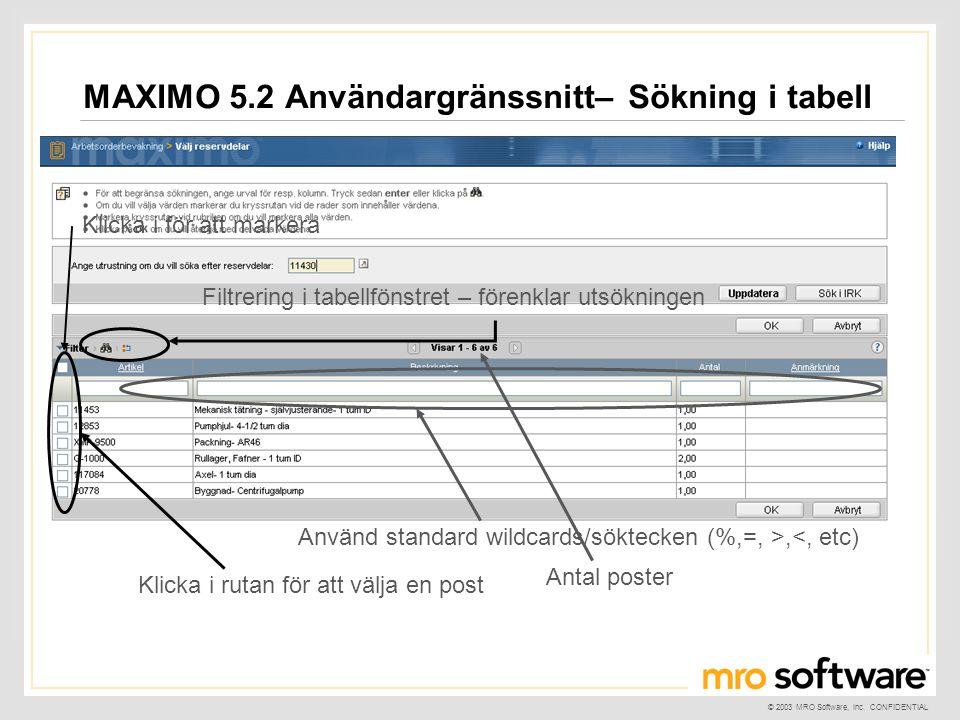 © 2003 MRO Software, Inc. CONFIDENTIAL MAXIMO 5.2 Användargränssnitt– Sökning i tabell Filtrering i tabellfönstret – förenklar utsökningen Klicka i ru