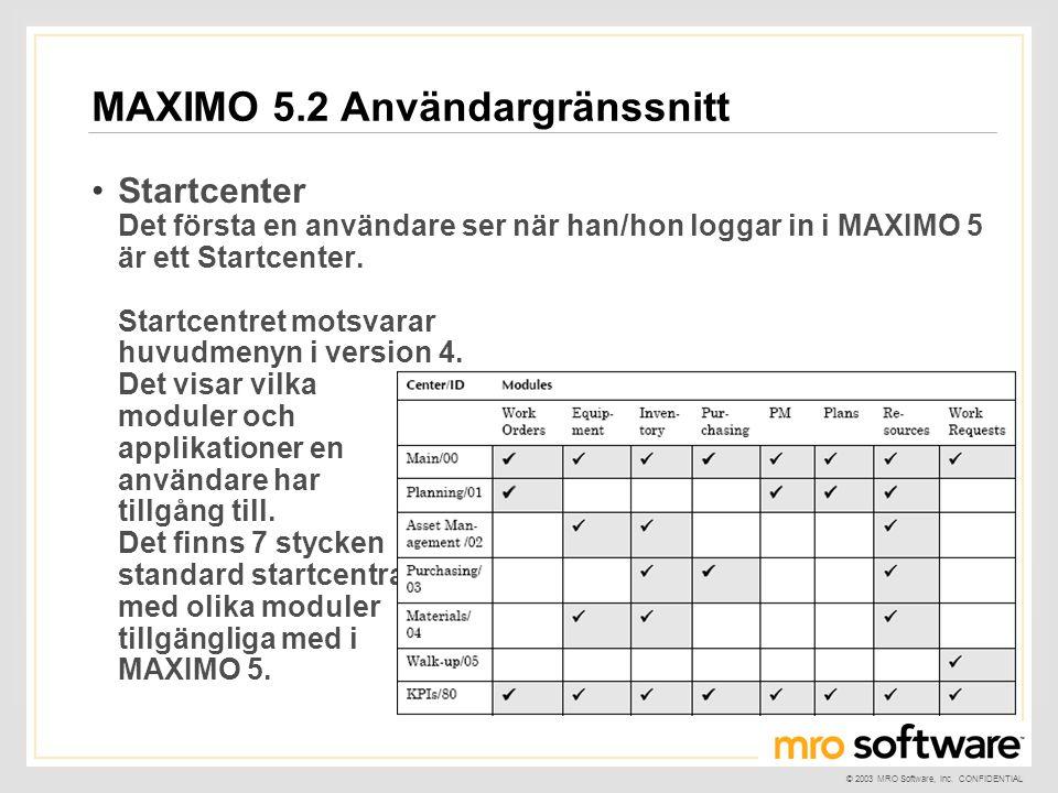 © 2003 MRO Software, Inc. CONFIDENTIAL MAXIMO 5.2 Användargränssnitt •Startcenter Det första en användare ser när han/hon loggar in i MAXIMO 5 är ett