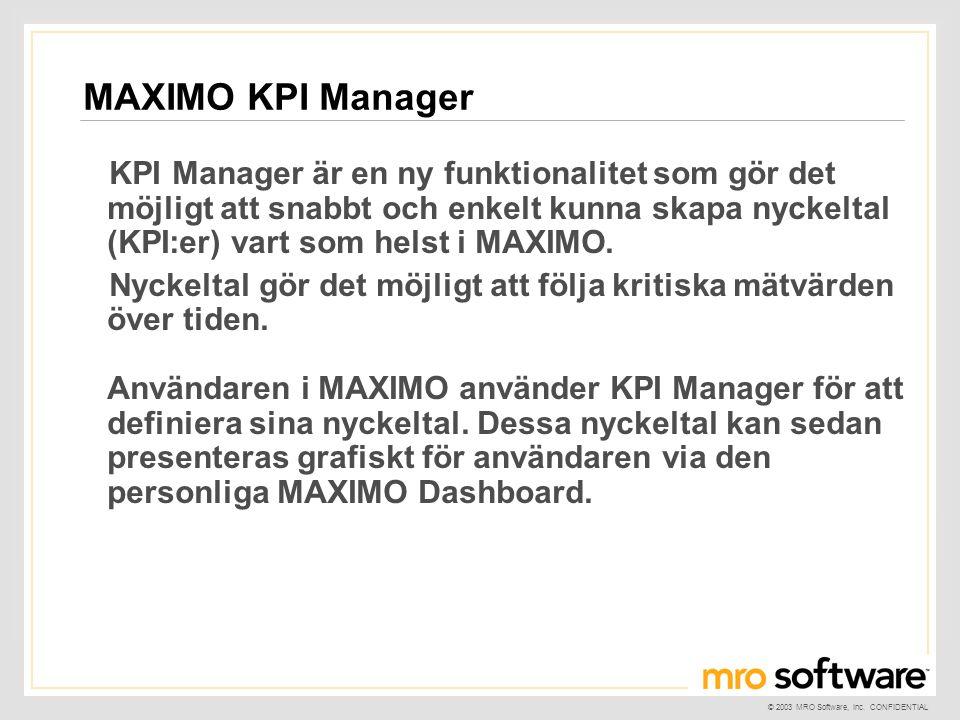 © 2003 MRO Software, Inc. CONFIDENTIAL KPI Manager är en ny funktionalitet som gör det möjligt att snabbt och enkelt kunna skapa nyckeltal (KPI:er) va