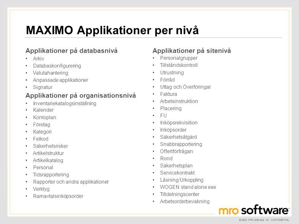 © 2003 MRO Software, Inc. CONFIDENTIAL Applikationer på databasnivå •Arkiv •Databaskonfigurering •Valutahantering •Anpassade applikationer •Signatur A