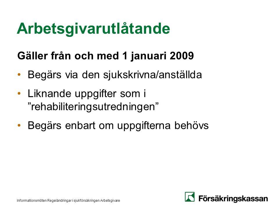 Informationsmöten Regeländringar i sjukförsäkringen Arbetsgivare Arbetsgivarutlåtande Gäller från och med 1 januari 2009 •Begärs via den sjukskrivna/a