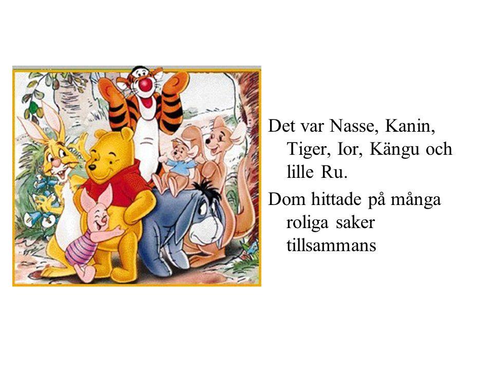 Det var Nasse, Kanin, Tiger, Ior, Kängu och lille Ru. Dom hittade på många roliga saker tillsammans