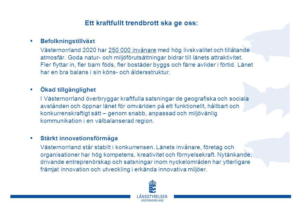 Ett kraftfullt trendbrott ska ge oss:  Befolkningstillväxt Västernorrland 2020 har 250 000 invånare med hög livskvalitet och tillåtande atmosfär. God