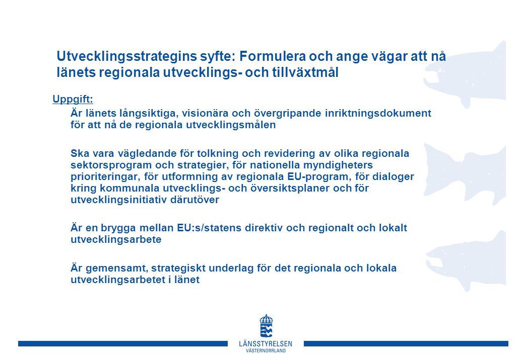 Utvecklingsstrategins syfte: Formulera och ange vägar att nå länets regionala utvecklings- och tillväxtmål Uppgift:  Är länets långsiktiga, visionära