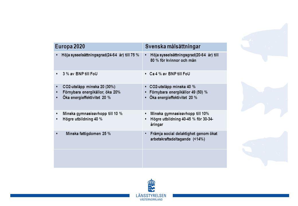 Europa 2020 Svenska målsättningar • Höja sysselsättningsgrad(24-64 år) till 75 %• Höja sysselsättningsgrad(20-64 år) till 80 % för kvinnor och män • 3