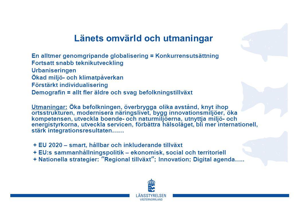 Innovationsförmåga som drivkraft Insatser ska göras till 2020 så att Västernorrland • har ett entreprenörskapsklimat som är bland Sveriges bästa med ökande andelar unga företagare • utmärks av en snabb och konkurrenskraftig övergång från idéer/forskning till förverkligande • är känt för sina regionala innovationsmiljöer och utvecklingen av dynamiska nätverk och kluster • har nått kraftfulla affärsframgångar inom exempelvis en växande energi- och miljöteknikbransch • syns och hörs som en framgångsrik och intressant del av Europa PRIORITERAT i klusterutveckling: Befintliga nätverk/kluster: Skogen som resurs – Number One, Framtidens Bioraffinaderi, Säkerhet/- räddning, Bank/försäkring/pension, Miljö-/energiteknik (Clean Tech), Digital informationsförvaltning/- arkiv, Besöksnäringen Exempel på nya strategiska nätverk: SensorIT, Materialteknik, El-hybrid/hydraulik, Upplevelseindustrin, Lokal matproduktion, Logistik&Transport, Myndighetsnätverket Inriktningsmål: År 2020 har länet drivande samverkans- och stödstrukturer för ett dynamiskt entreprenörs- och innovationsklimat på hög svensk nivå