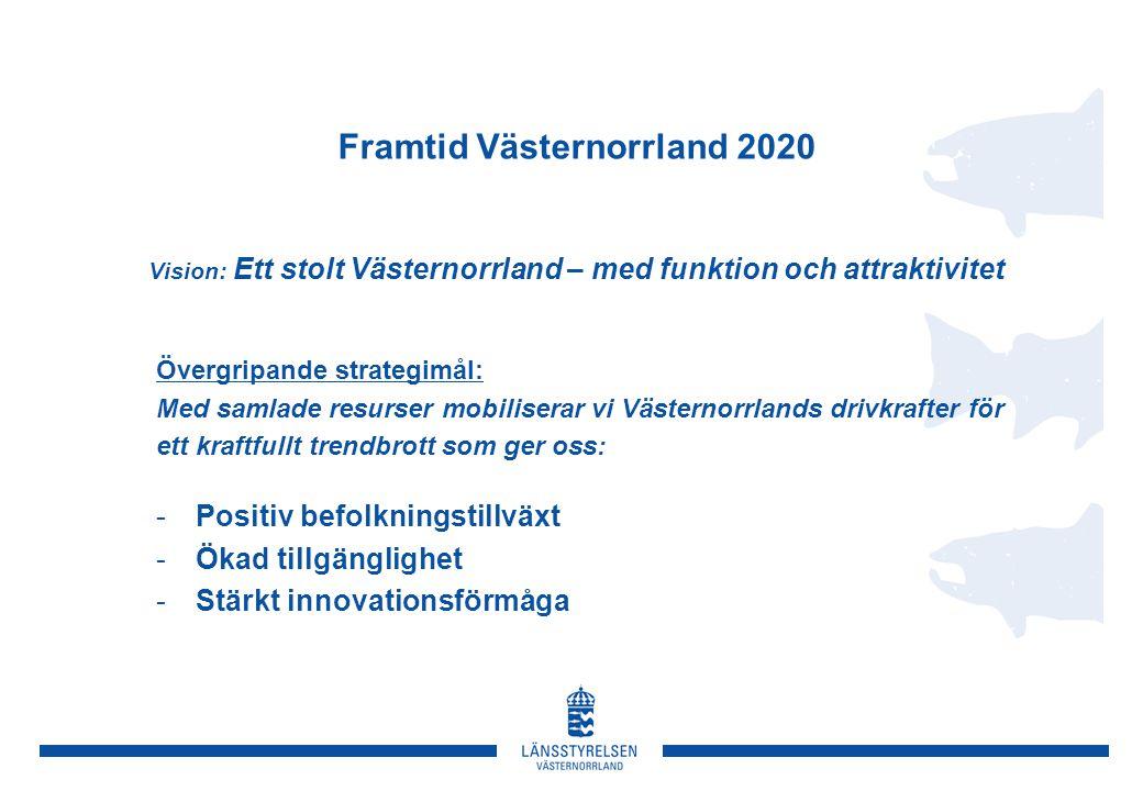 Framtid Västernorrland 2020 Vision: Ett stolt Västernorrland – med funktion och attraktivitet Övergripande strategimål: Med samlade resurser mobiliser