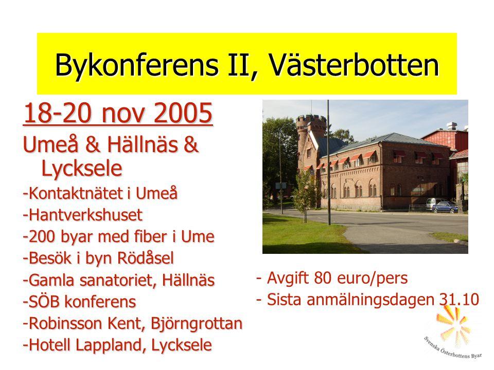 Bykonferens II, Västerbotten 18-20 nov 2005 Umeå & Hällnäs & Lycksele -Kontaktnätet i Umeå -Hantverkshuset -200 byar med fiber i Ume -Besök i byn Rödåsel -Gamla sanatoriet, Hällnäs -SÖB konferens Robinsson Kent, Björngrottan -Robinsson Kent, Björngrottan -Hotell Lappland, Lycksele - Avgift 80 euro/pers - Sista anmälningsdagen 31.10