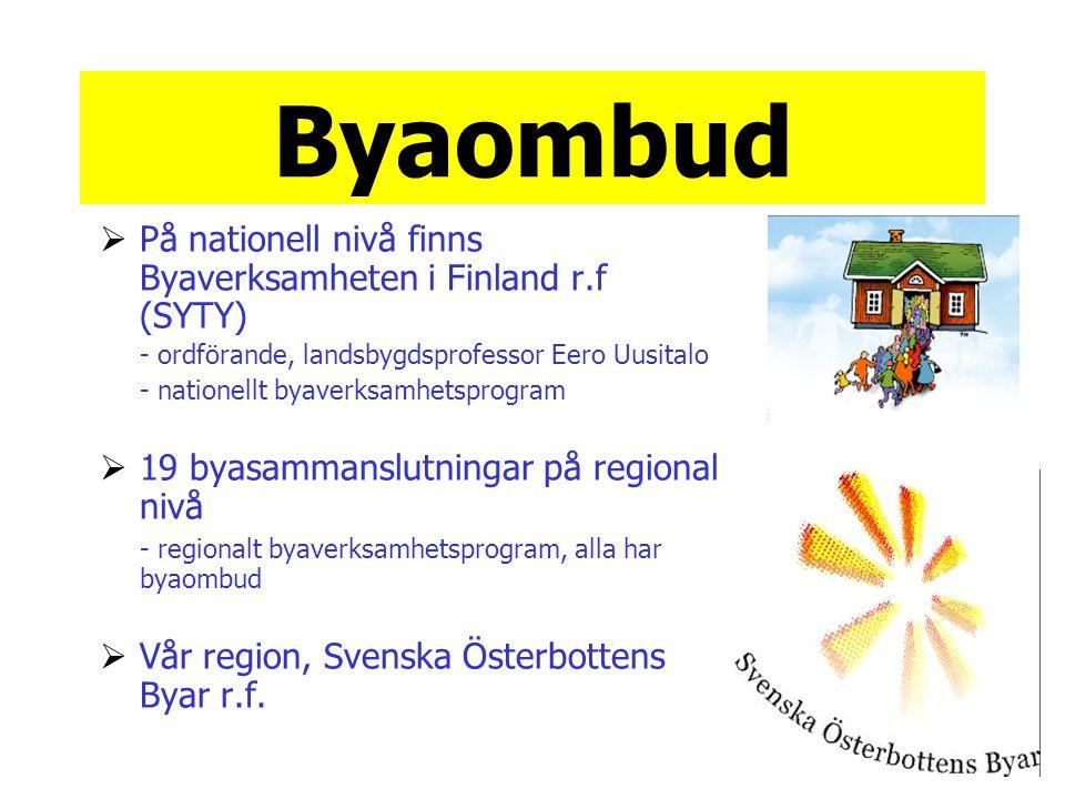 Byaombud  På nationell nivå finns Byaverksamheten i Finland r.f (SYTY) - ordförande, landsbygdsprofessor Eero Uusitalo - nationellt byaverksamhetsprogram  19 byasammanslutningar på regional nivå - regionalt byaverksamhetsprogram, alla har byaombud  Vår region, Svenska Österbottens Byar r.f.