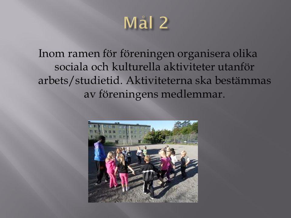 Inom ramen för föreningen organisera olika sociala och kulturella aktiviteter utanför arbets/studietid. Aktiviteterna ska bestämmas av föreningens med