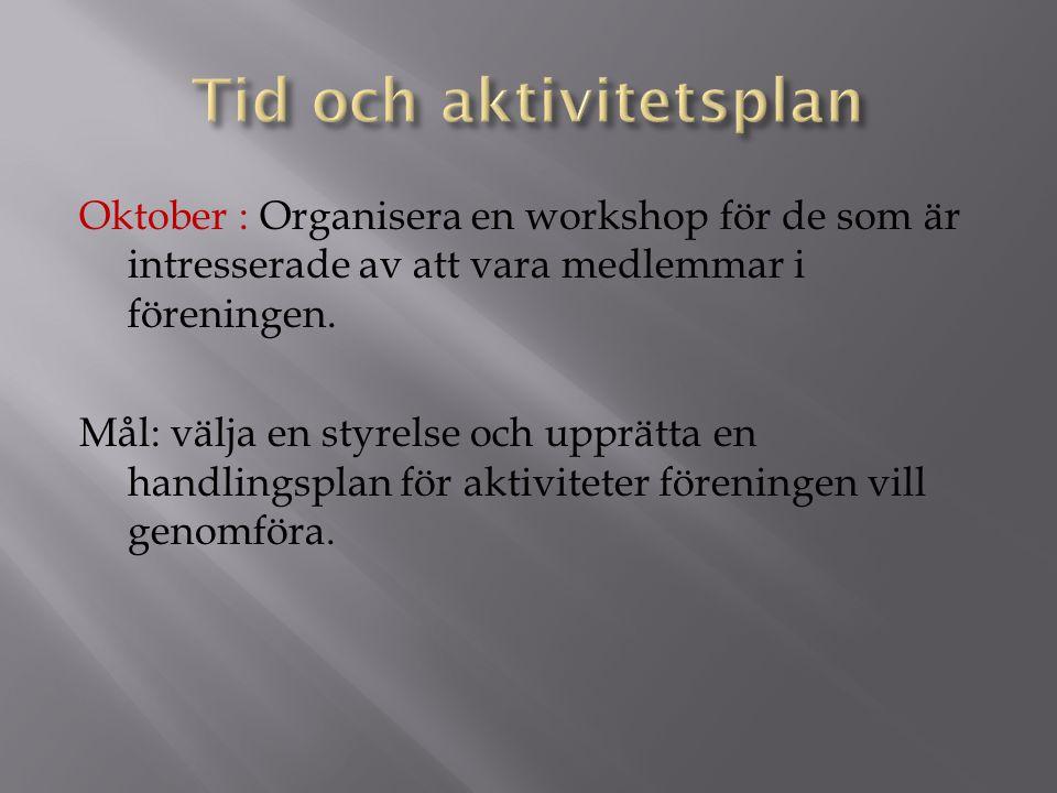 Oktober : Organisera en workshop för de som är intresserade av att vara medlemmar i föreningen. Mål: välja en styrelse och upprätta en handlingsplan f