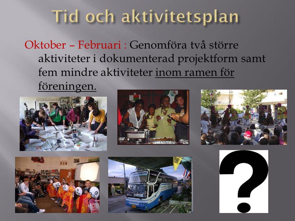 Oktober – Februari : Genomföra två större aktiviteter i dokumenterad projektform samt fem mindre aktiviteter inom ramen för föreningen.