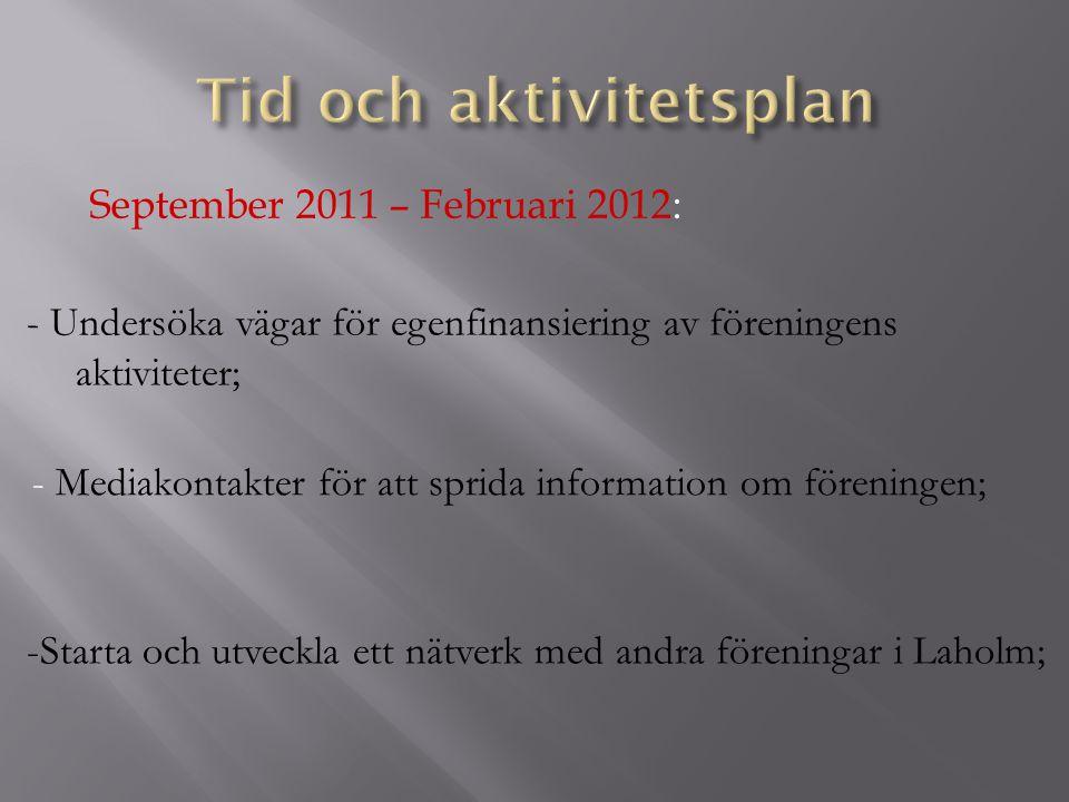 September 2011 – Februari 2012: -Starta och utveckla ett nätverk med andra föreningar i Laholm; - Undersöka vägar för egenfinansiering av föreningens aktiviteter; - Mediakontakter för att sprida information om föreningen;