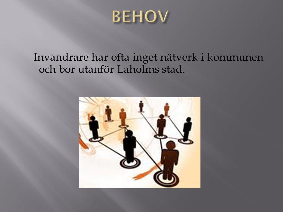 Invandrare har ofta inget nätverk i kommunen och bor utanför Laholms stad.