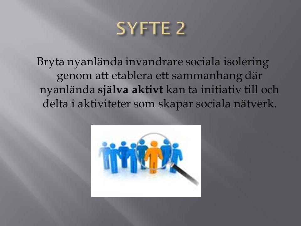 Bryta nyanlända invandrare sociala isolering genom att etablera ett sammanhang där nyanlända själva aktivt kan ta initiativ till och delta i aktiviteter som skapar sociala nätverk.