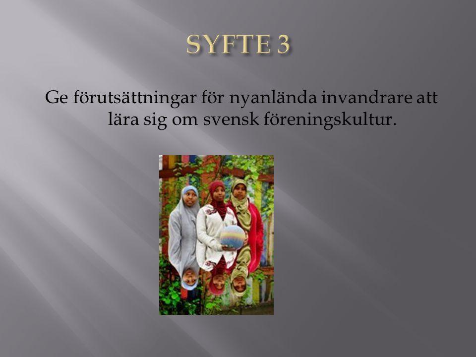 Ge förutsättningar för nyanlända invandrare att lära sig om svensk föreningskultur.