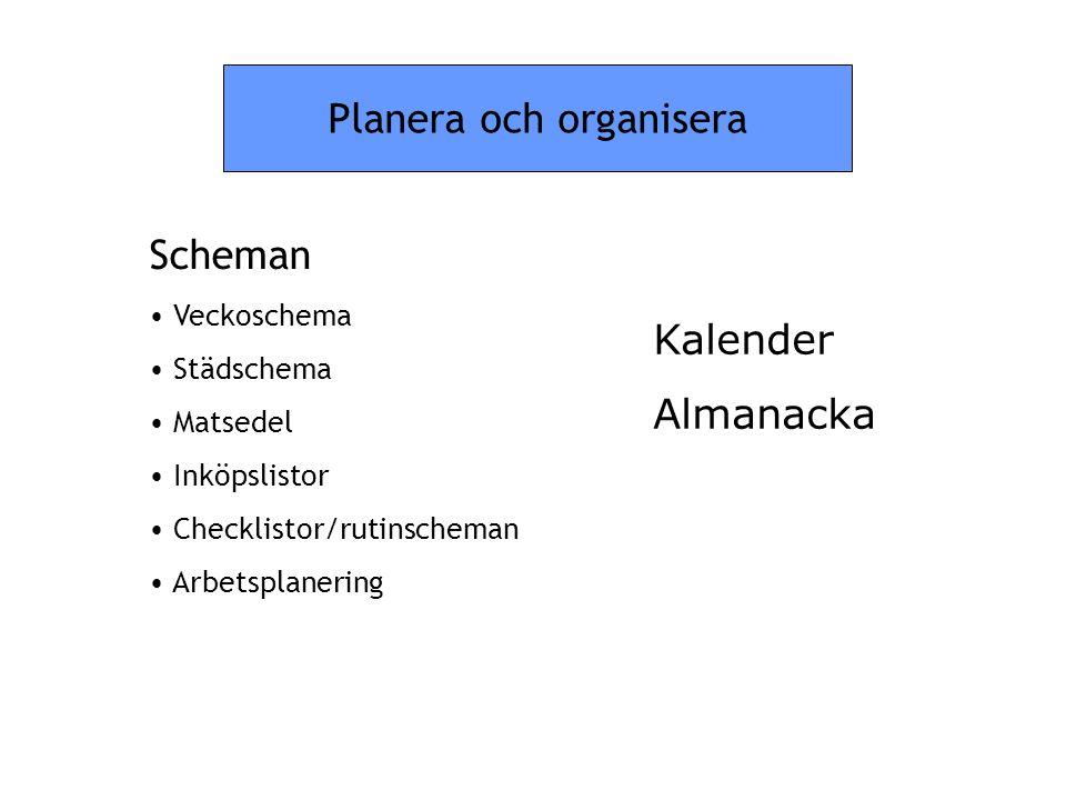 Planera och organisera Scheman • Veckoschema • Städschema • Matsedel • Inköpslistor • Checklistor/rutinscheman • Arbetsplanering Kalender Almanacka