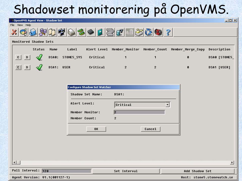 Shadowset monitorering på OpenVMS.