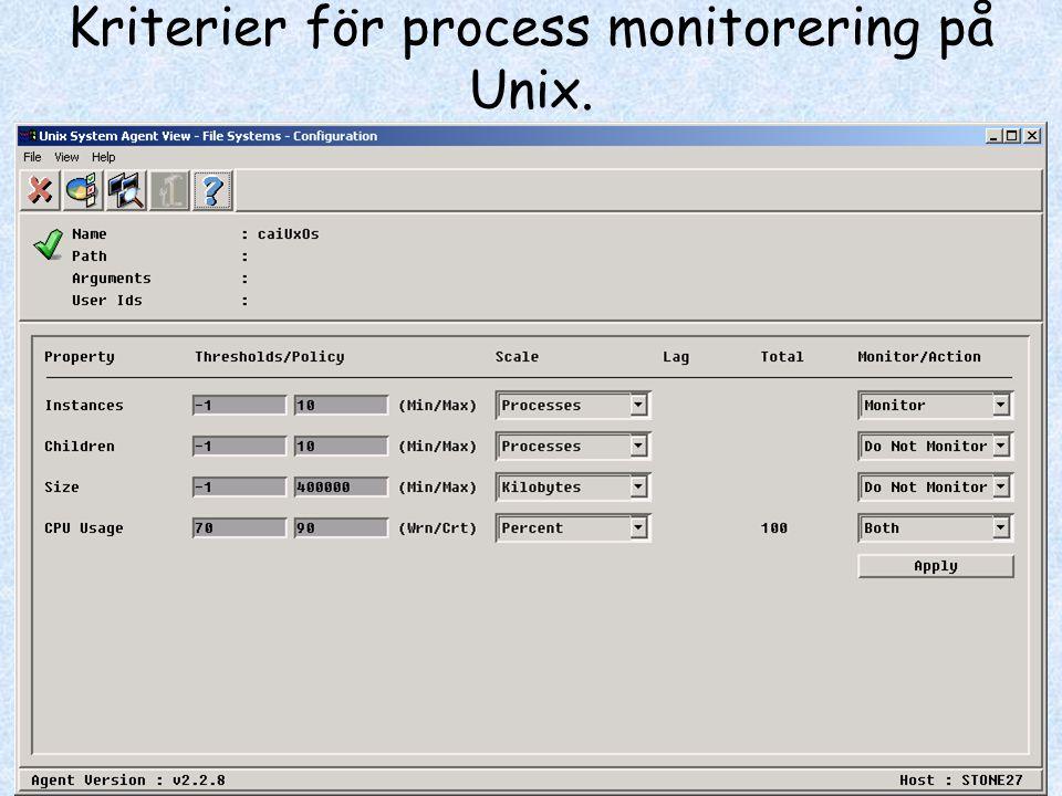 Kriterier för process monitorering på Unix.