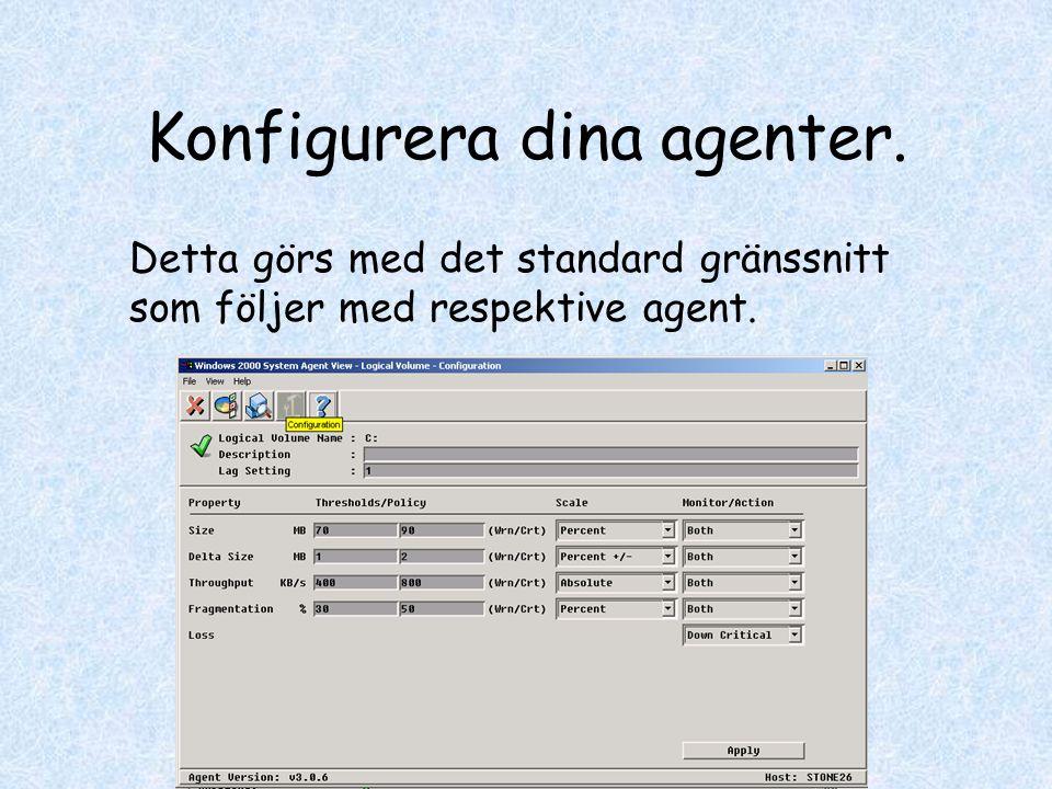 Konfigurera dina agenter. Detta görs med det standard gränssnitt som följer med respektive agent.