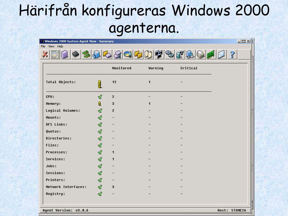 Härifrån konfigureras Windows 2000 agenterna.
