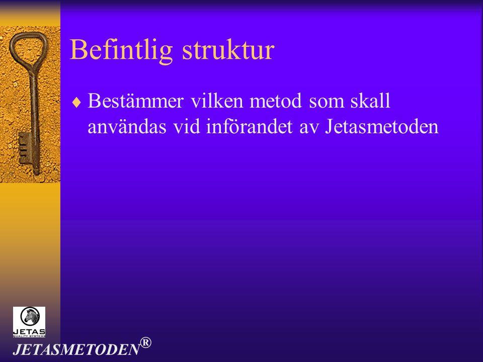 Befintlig struktur  Bestämmer vilken metod som skall användas vid införandet av Jetasmetoden JETASMETODEN ®