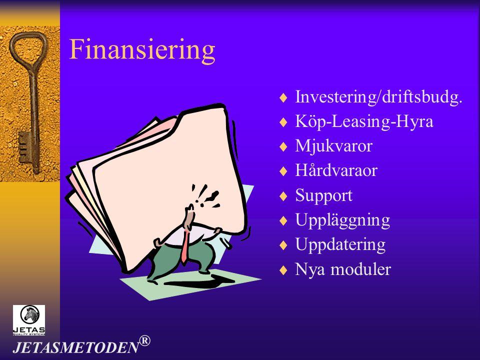 Finansiering  Investering/driftsbudg.  Köp-Leasing-Hyra  Mjukvaror  Hårdvaraor  Support  Uppläggning  Uppdatering  Nya moduler JETASMETODEN ®