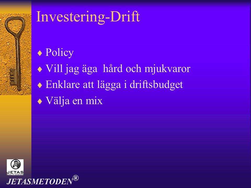 Investering-Drift  Policy  Vill jag äga hård och mjukvaror  Enklare att lägga i driftsbudget  Välja en mix JETASMETODEN ®