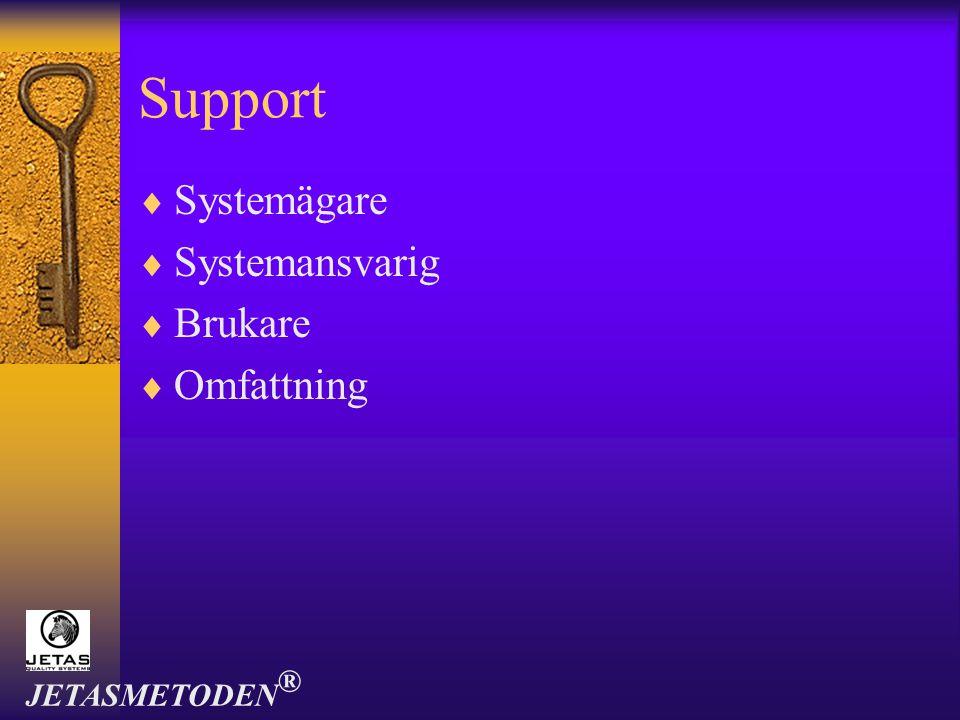 Support  Systemägare  Systemansvarig  Brukare  Omfattning JETASMETODEN ®