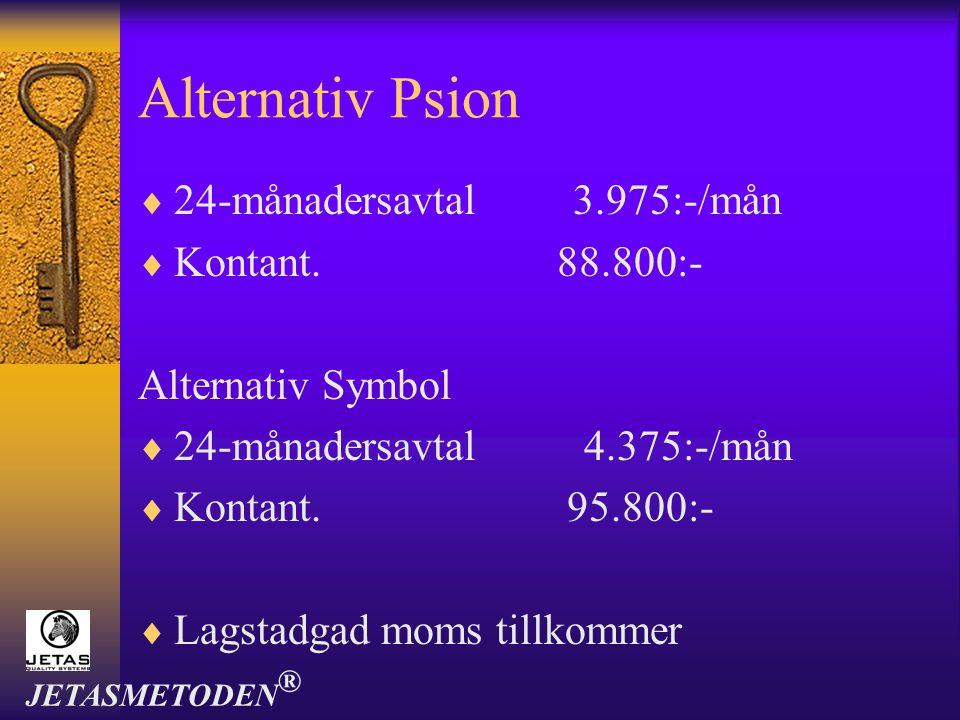 Alternativ Psion  24-månadersavtal 3.975:-/mån  Kontant. 88.800:- Alternativ Symbol  24-månadersavtal 4.375:-/mån  Kontant. 95.800:-  Lagstadgad