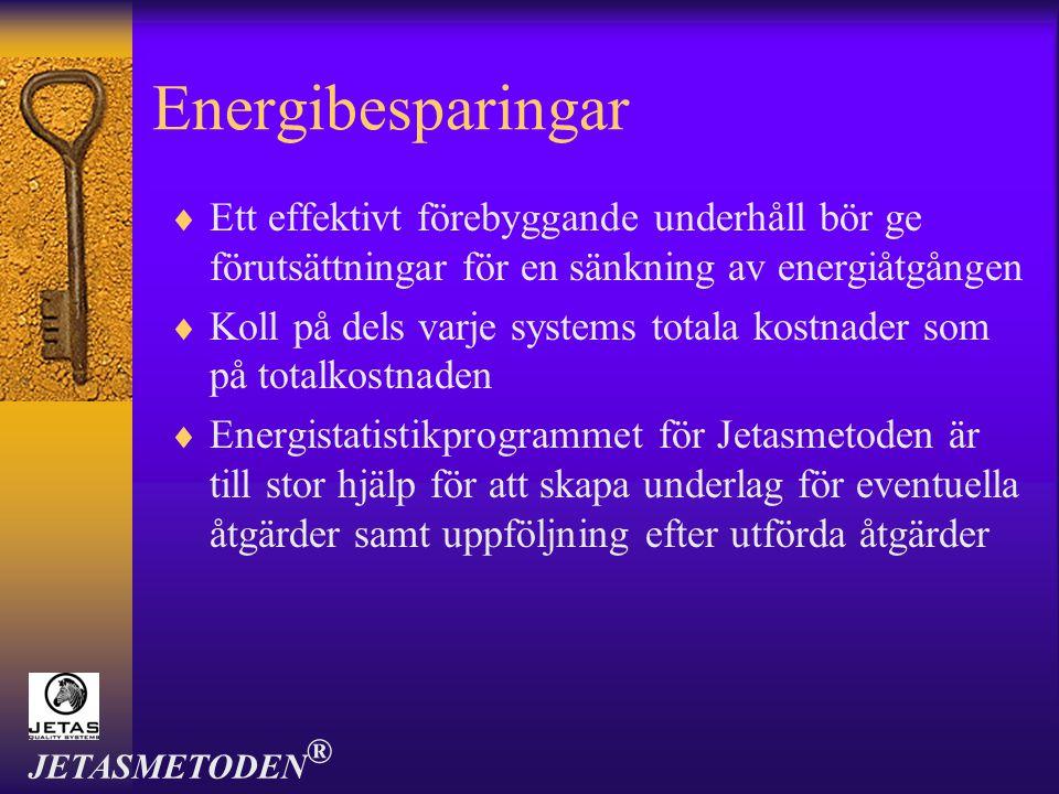 Energibesparingar  Ett effektivt förebyggande underhåll bör ge förutsättningar för en sänkning av energiåtgången  Koll på dels varje systems totala