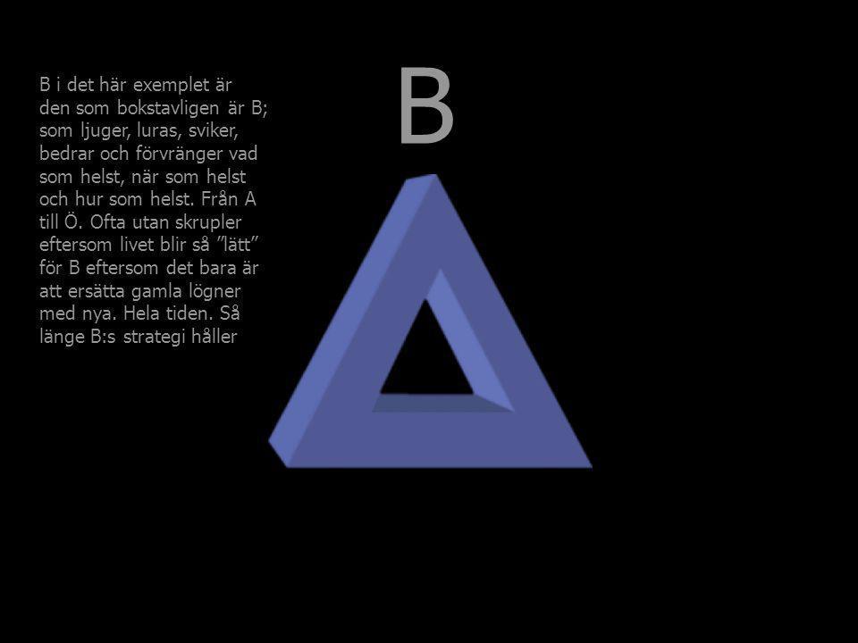 B B i det här exemplet är den som bokstavligen är B; som ljuger, luras, sviker, bedrar och förvränger vad som helst, när som helst och hur som helst.
