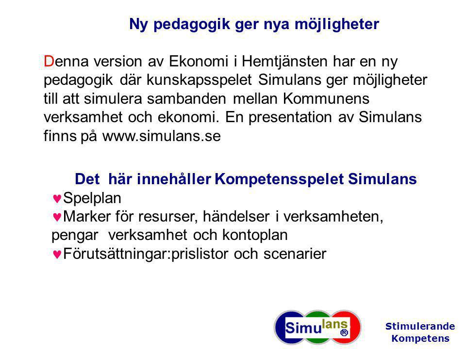 Ny pedagogik ger nya möjligheter Denna version av Ekonomi i Hemtjänsten har en ny pedagogik där kunskapsspelet Simulans ger möjligheter till att simulera sambanden mellan Kommunens verksamhet och ekonomi.