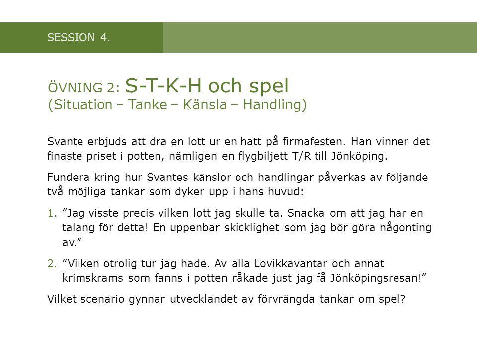 SESSION 4. ÖVNING 2: S-T-K-H och spel (Situation – Tanke – Känsla – Handling) Svante erbjuds att dra en lott ur en hatt på firmafesten. Han vinner det