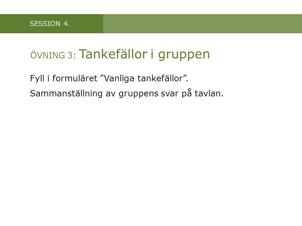 """SESSION 4. ÖVNING 3: Tankefällor i gruppen Fyll i formuläret """"Vanliga tankefällor"""". Sammanställning av gruppens svar på tavlan."""