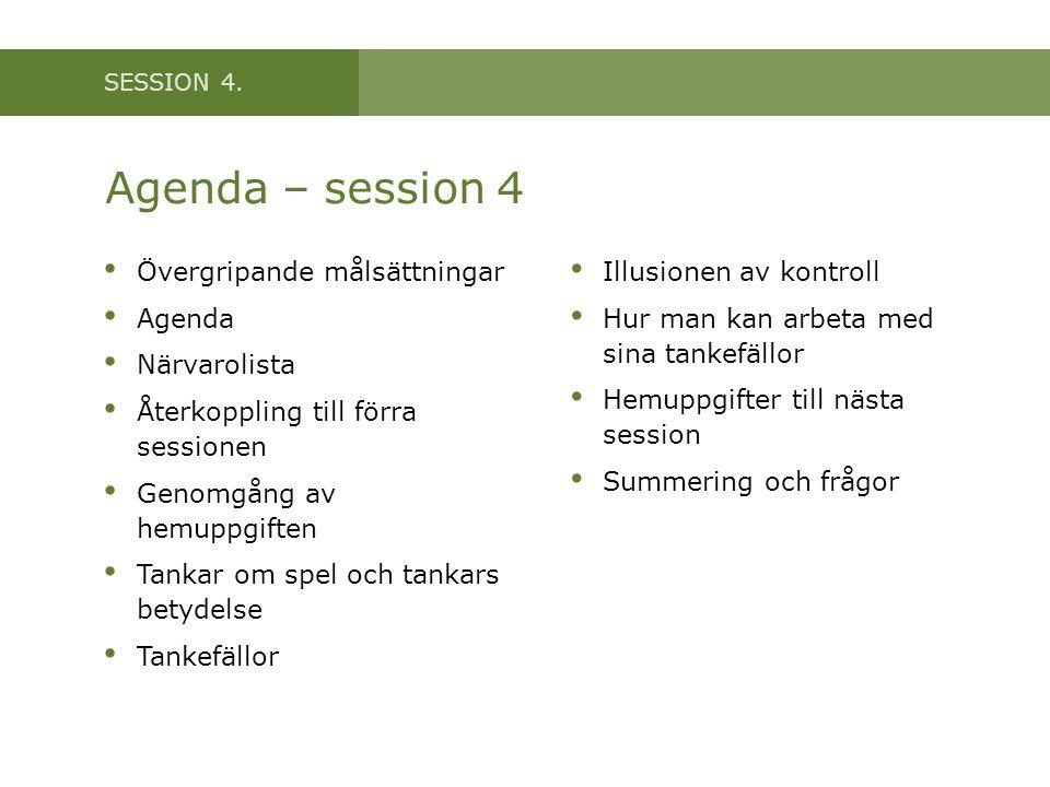 SESSION 4. Agenda – session 4 • Övergripande målsättningar • Agenda • Närvarolista • Återkoppling till förra sessionen • Genomgång av hemuppgiften • T