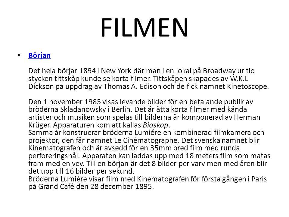 FILMEN • Början Det hela börjar 1894 i New York där man i en lokal på Broadway ur tio stycken tittskåp kunde se korta filmer. Tittskåpen skapades av W