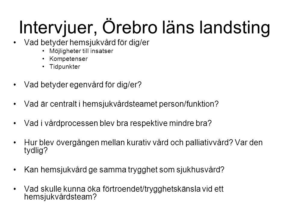 Intervjuer, Örebro läns landsting •Vad betyder hemsjukvård för dig/er •Möjligheter till insatser •Kompetenser •Tidpunkter •Vad betyder egenvård för di