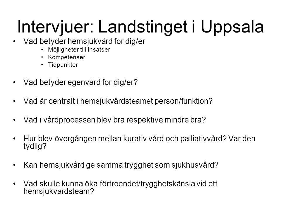 Intervjuer: Landstinget i Uppsala •Vad betyder hemsjukvård för dig/er •Möjligheter till insatser •Kompetenser •Tidpunkter •Vad betyder egenvård för di