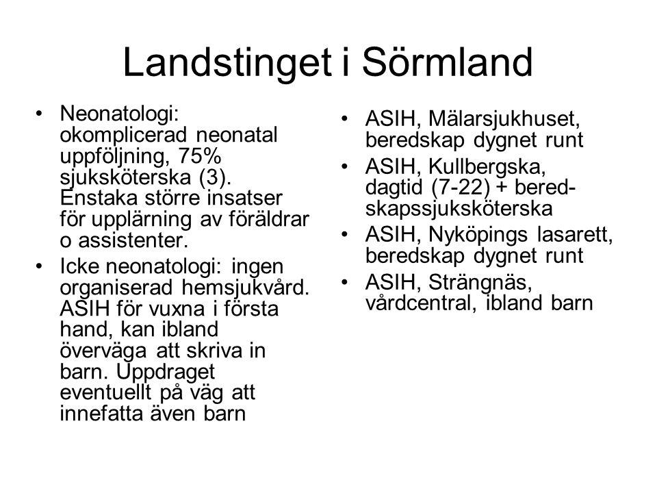 Landstinget i Sörmland •Neonatologi: okomplicerad neonatal uppföljning, 75% sjuksköterska (3). Enstaka större insatser för upplärning av föräldrar o a