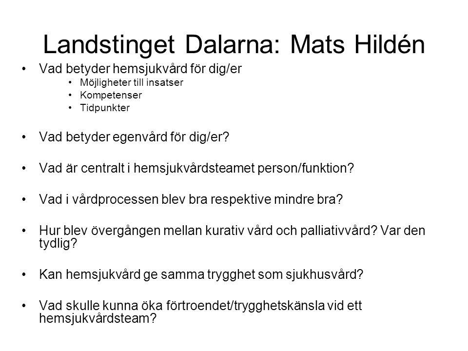 Landstinget Dalarna: Mats Hildén •Vad betyder hemsjukvård för dig/er •Möjligheter till insatser •Kompetenser •Tidpunkter •Vad betyder egenvård för dig