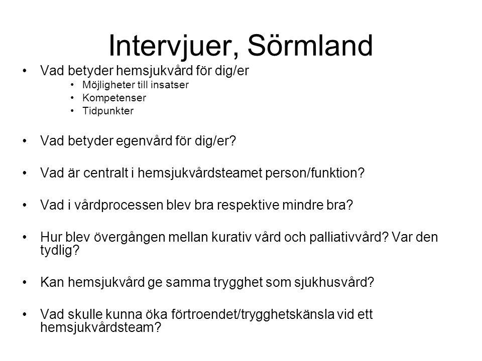 Intervjuer, Sörmland •Vad betyder hemsjukvård för dig/er •Möjligheter till insatser •Kompetenser •Tidpunkter •Vad betyder egenvård för dig/er? •Vad är