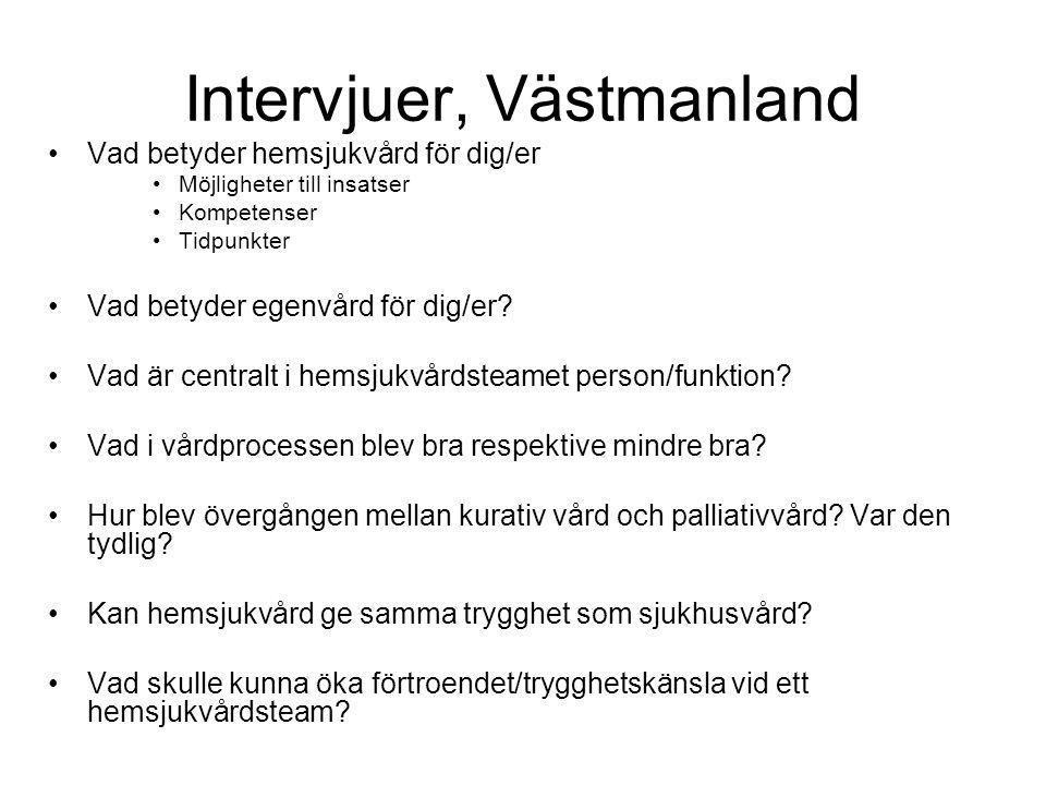 Intervjuer, Västmanland •Vad betyder hemsjukvård för dig/er •Möjligheter till insatser •Kompetenser •Tidpunkter •Vad betyder egenvård för dig/er? •Vad