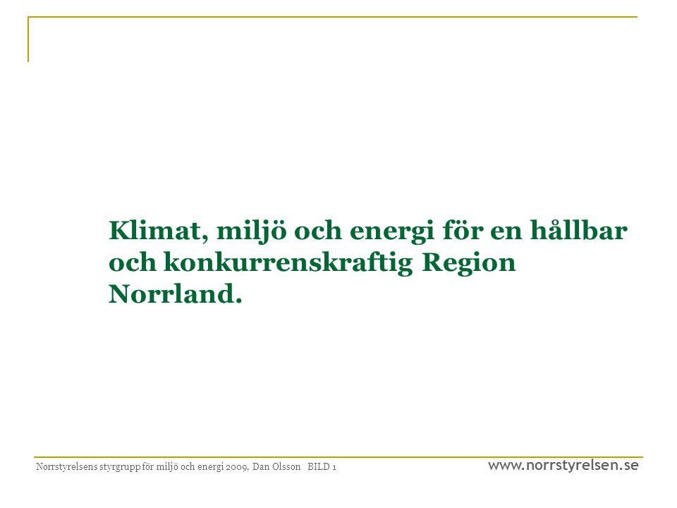 www.norrstyrelsen.se Norrstyrelsens styrgrupp för miljö och energi 2009, Dan Olsson BILD 12 Tillväxt  Norra Sverige ska utveckla de energislag där vi har bäst kompetens och komparativa fördelar i förhållande till andra regioner.