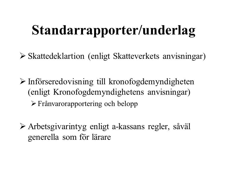 Standarrapporter/underlag  Skattedeklartion (enligt Skatteverkets anvisningar)  Införseredovisning till kronofogdemyndigheten (enligt Kronofogdemynd