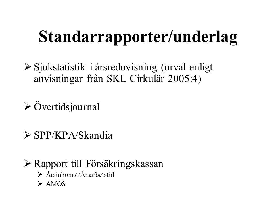 Standarrapporter/underlag  Sjukstatistik i årsredovisning (urval enligt anvisningar från SKL Cirkulär 2005:4)  Övertidsjournal  SPP/KPA/Skandia  R
