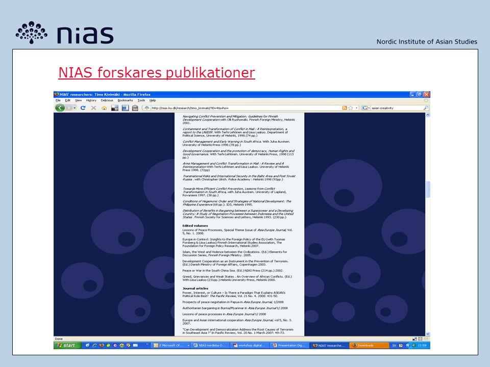 NIAS forskares publikationer