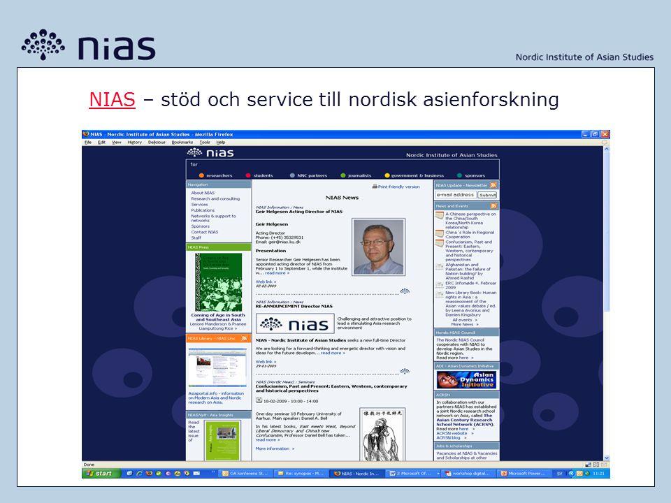 NIASNIAS – stöd och service till nordisk asienforskning